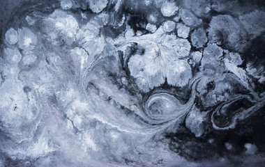 Marble abstract acrylic background. Blue marbling artwork texture. Agate ripple pattern.