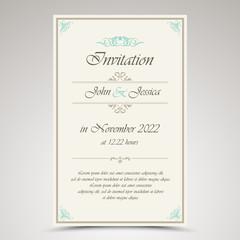 Wedding invitation in retro vintage style