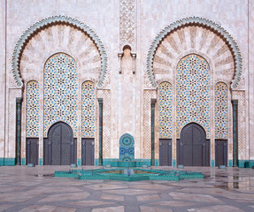Architecture details of exterior of  Hassan II Mosque in Casablanca, Morocco