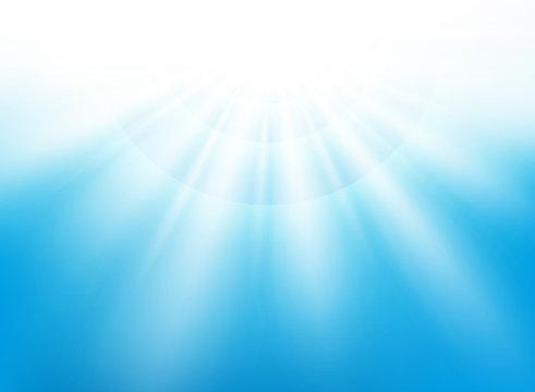 Center sunburst light effect on nice blue sky background