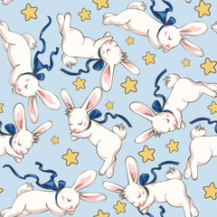 Seamless pattern with cute sleeping bunny and stars