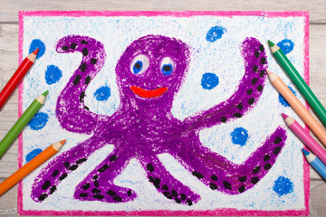 Colorful hand drawing and crayons: Smiling cute octopus