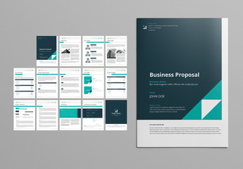 Business Proposal Layout with Teal and Green Accents