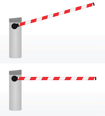 Open and closed barrier. vector illustration