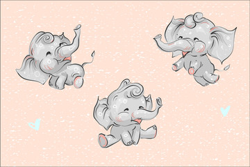 Set of cute childish cartoon baby elephants and hearts on grunge background vector illustration for prints banners cards