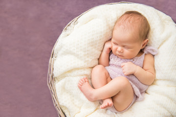 Newborn baby sleeping in round basket, purple background