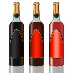 Set of vine bottles
