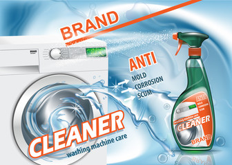 Advertising means for Wash Machine care. Realistic image