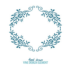 elegant climbing ivy vines in a beautiful frame design vector for floral design elements and wedding announcement decorations. Ivy design is hand drawn in teal blue and green color.