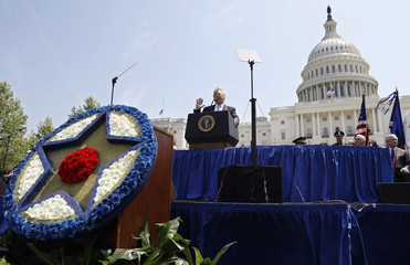 U.S. President Donald Trump speaks at the 37th Annual National Peace Officers' Memorial Service at the U.S. Capitol in Washington