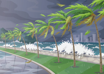 Tropical landscape During Hurricane Incoming