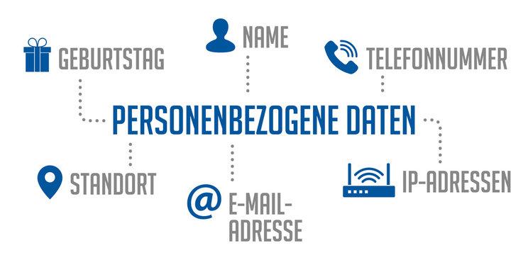 Infografik personenbezogene Daten Blau