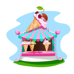 Ice cream stall with tasty decor. Bright, summer banner. Vector illustration.