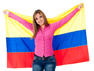 Colombian girl with colombian flag