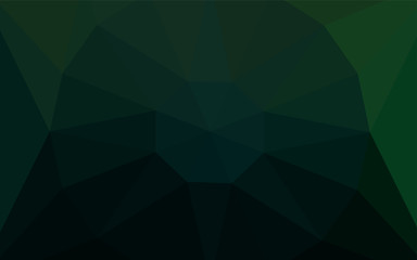 Dark Green vector polygon abstract background with a gem in a centre.
