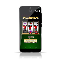 Smartphone showing Slot Casino Online. Highly detailed picture. Everything in layers and can be edited