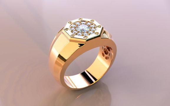 men's diamond ring 3D rendering