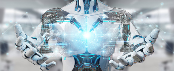 White man robot using robotics arms with digital screen 3D rendering