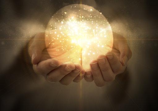 magic ball in women's hands, magic, witchcraft