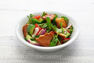 fattoush salad with sumac and pita bread, Lebanese cuisine