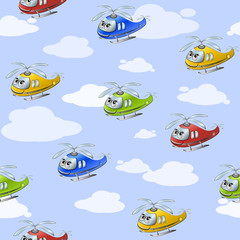 Funny seamless cartoonish pattern with colored helicopters against the blue sky with clouds. Vector illustration.