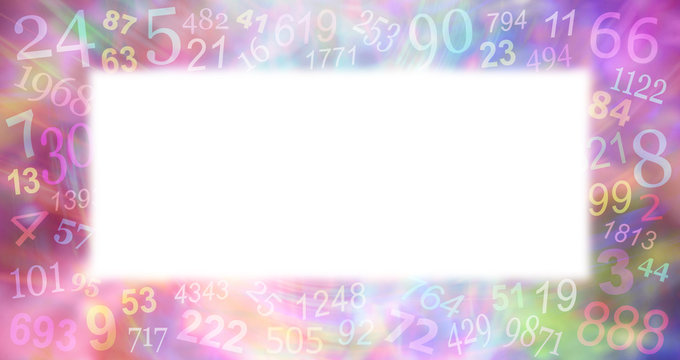 Multicoloured Numerology Numbers border background  -  random pale faded numbers creating a border on a wispy multicoloured background with a central white copy space