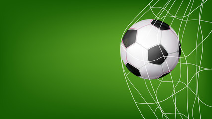 Soccer Ball In Net Vector. Hitting Goal. Invitation Sport Poster, Banner, Brochure Design. Isolated On Green Background Illustration