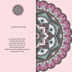 Indian style colorful ornate mandala card. Ornamental blank with ethnic motifs. Oriental graphic design concept. Paper brochure template. EPS 10 vector illustration. Clipping mask.