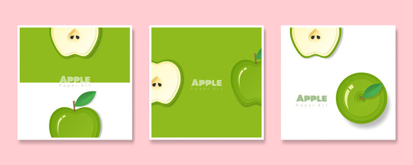 Set of fruit banners with green apple in paper art style , vector , illustration