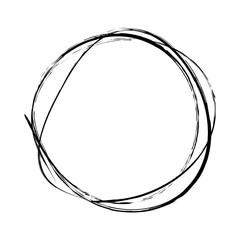 Hand drawn black scribble circles on white