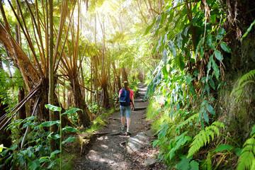 Tourist hiking on Kilauea Iki trail in Volcanoes National Park in Big Island of Hawaii