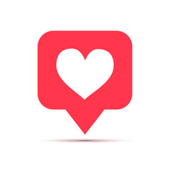 Like social network icon in heart shape on white