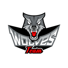 Logo template with Wolf head.
