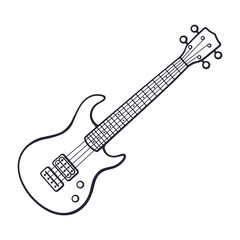 Doodle of rock electro or bass guitar