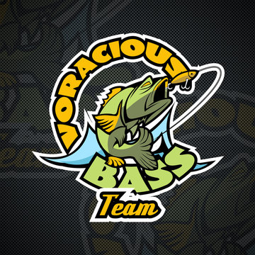 Voracious Bass, the motto of the Fishermen's team. Logo template.
