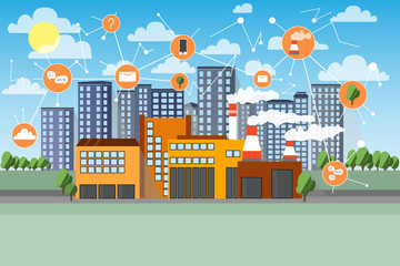 Smart factory. Network icons. Cityline and industrial background. Cartoon flat vector illustration.