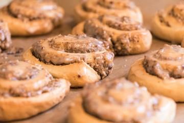 Leckere Nußschnecken mit Glasur zu Gebäck Dessert oder Frühstück. Süße Nussschnecken und Zimtschnecken. Teigwaren aus Hefeteig hausgemacht nach Rezept vom Bäcker oder Konditorei. Füllung Zimt und Nuss