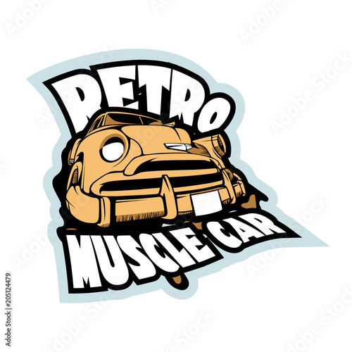 Retro Muscle Car Illustration Vintage T Shirt Print Template
