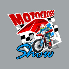 Extreme red Off Road Motorbike, Motocross show. Vector illustration.