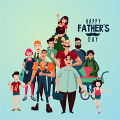 Fathers day cartoon illustration with group of people. Family portrait fathers and children. The crowd of dads with their kids.