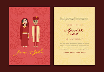 Wedding Invitation Layout with Couple Illustration