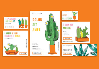 6 Social Media Post Layouts with Cactus Illustrations