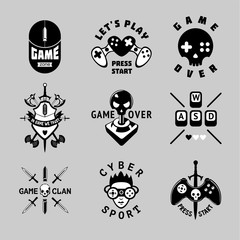 Video games vintage vector emblem set. Retro style gaming signs. T-shirts prints for gamers. Black and white tattoo.