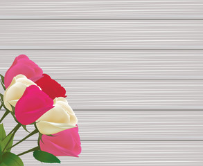 Roses bouquet on wooden background, vector