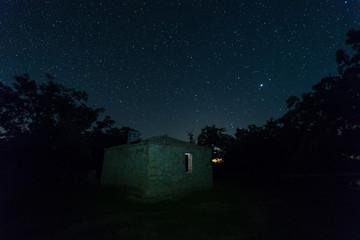 Night landscape near Aceituna. Extremadura. Spain.