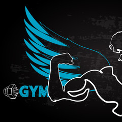 Athlete with wing banner for the gym