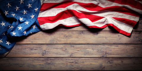 Wall Mural - American Flag On Wooden Table - Grunge Textures