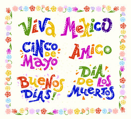 Vector flat set of mexican quotes & lettering for different ocassions & events