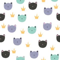 Childish seamless pattern with cat princess. Vector hand drawn illustration.