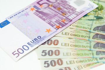 many romanian leu high banknotes and 500 euro bill